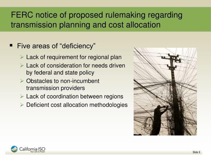 FERC notice of proposed rulemaking regarding transmission planning and cost allocation