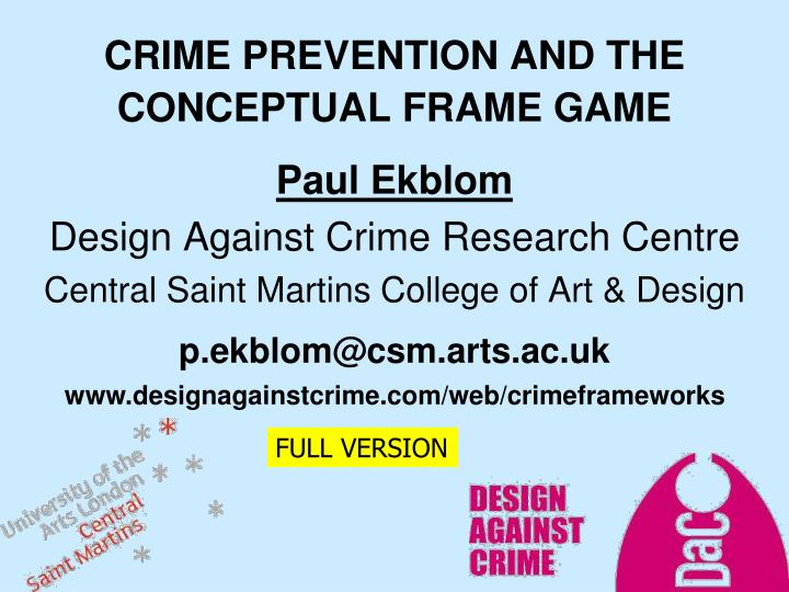 crime prevention and the conceptual frame game n.