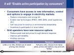 it will enable active participation by consumers