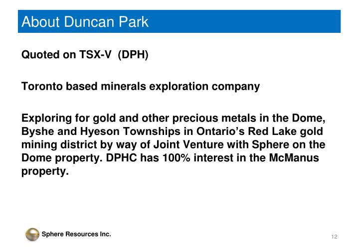 About Duncan Park
