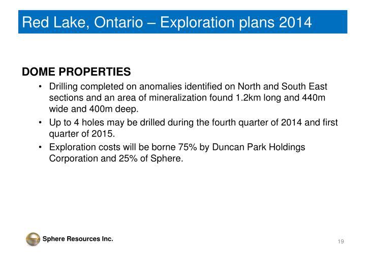 Red Lake, Ontario – Exploration plans 2014