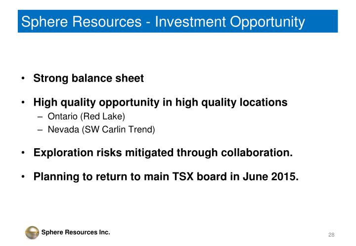 Sphere Resources - Investment Opportunity