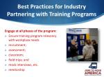 best practices for industry partnering with training programs