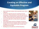 creating an effective and equitable program