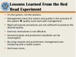 lessons learned from the red bead experiment