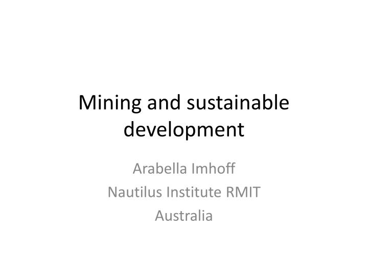 mining and sustainable development n.