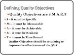 defining quality objectives