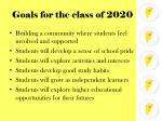 goals for the class of 2020