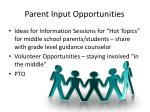 parent input opportunities
