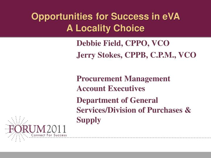 opportunities for success in eva a locality choice n.