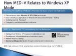how med v relates to windows xp mode
