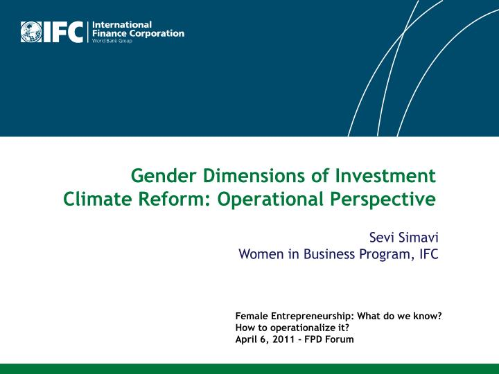 gender dimensions of investment climate reform operational perspective n.