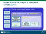 gender specific challenges in investment climate agenda