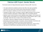 pakistan adr project gender results