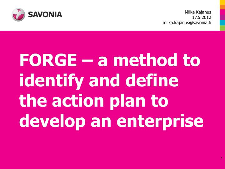 forge a method to identify and define the action plan to develop an enterprise n.