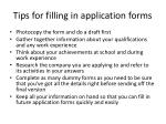 tips for filling in application forms