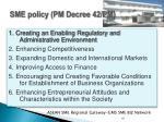 sme policy pm decree 42 pm