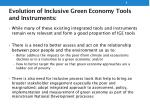 evolution of inclusive green economy tools and instruments