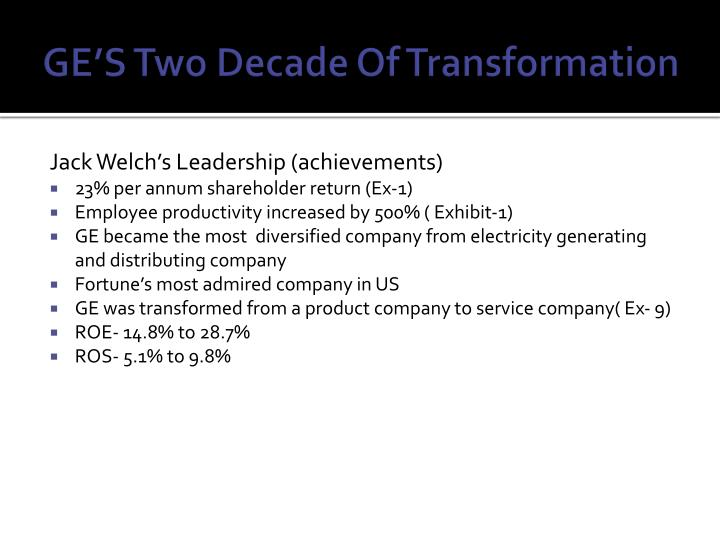 GE'S Two Decade Of Transformation
