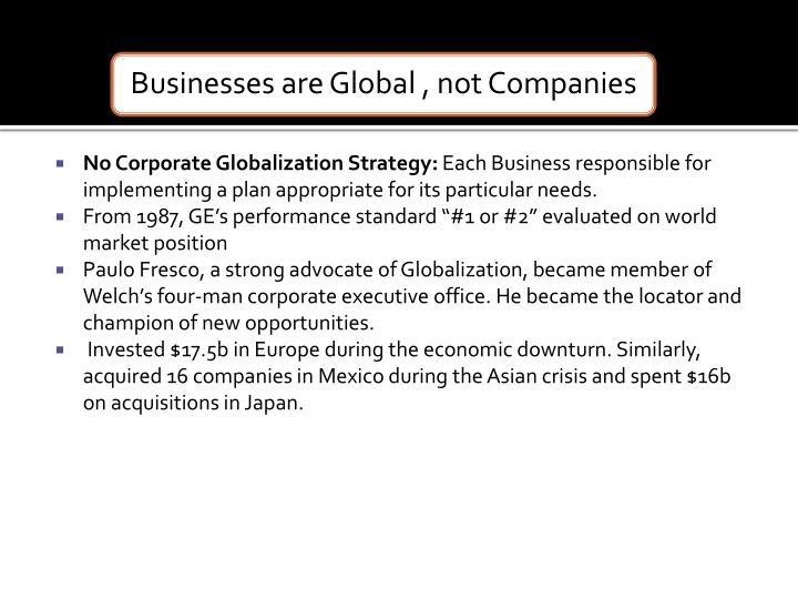 No Corporate Globalization Strategy: