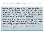 finding a balance leadership style