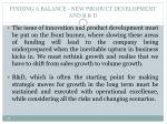 finding a balance new product development and r d