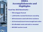 dsha accomplishments and highlights
