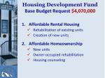 housing development fund base budget request 4 070 000