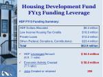 housing development fund fy13 funding leverage