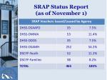 srap status report as of november 1