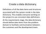 create a data dictionary