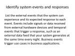 identify system events and responses