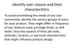 identify user classes and their characteristics