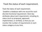track the status of each requirement