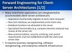 forward engineering for client server architectures 1 2
