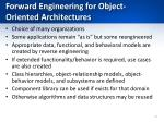 forward engineering for object oriented architectures