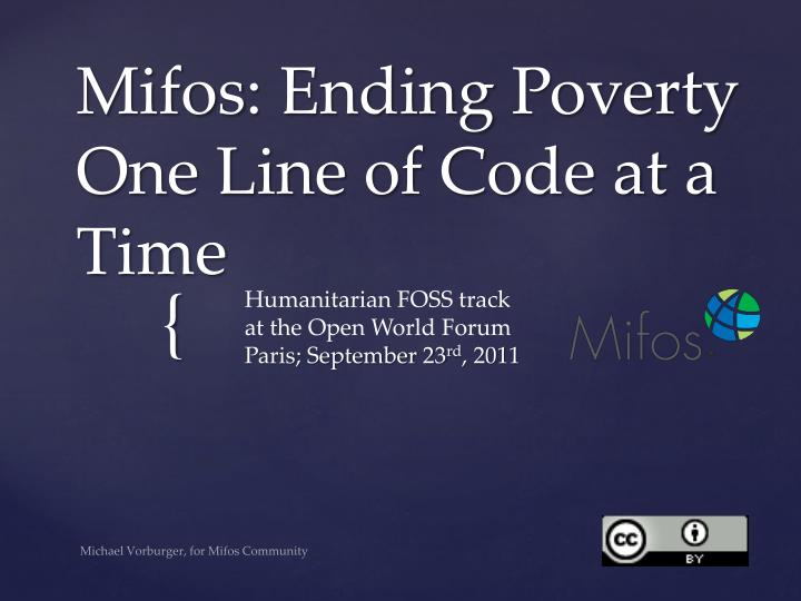 mifos ending poverty one line of code at a time n.