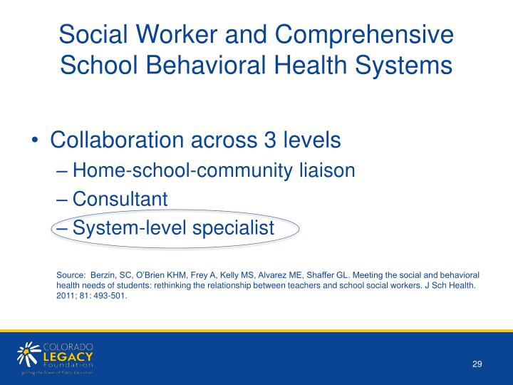 Social Worker and Comprehensive School Behavioral Health Systems