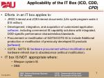 applicability of the it box icd cdd cpd