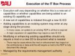 execution of the it box process