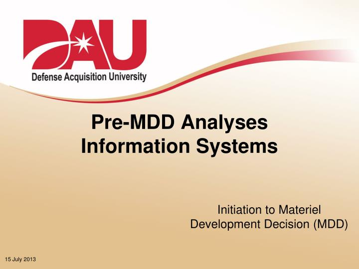 pre mdd analyses information systems n.