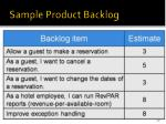 sample product backlog