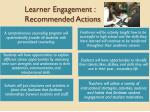 learner engagement recommended actions