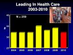 leading in health care 2003 2010
