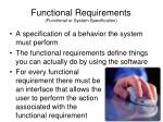 functional requirements functional or system specification