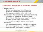 example analytics at oberon games