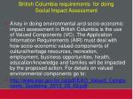 british columbia requirements for doing social impact assessment