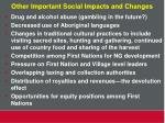 other important social impacts and changes