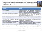 frequently asked questions faq about software engineering