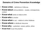 domains of crime prevention knowledge